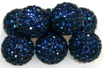 10mm Blue 115 Stone  Pave Crystal Beads- Half Drilled PCBHD10-115-027